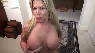 Horny American housewife playing with her labia