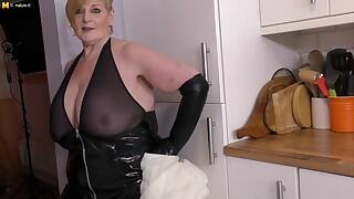 Naughty British mature BBW displaying off her huge tits
